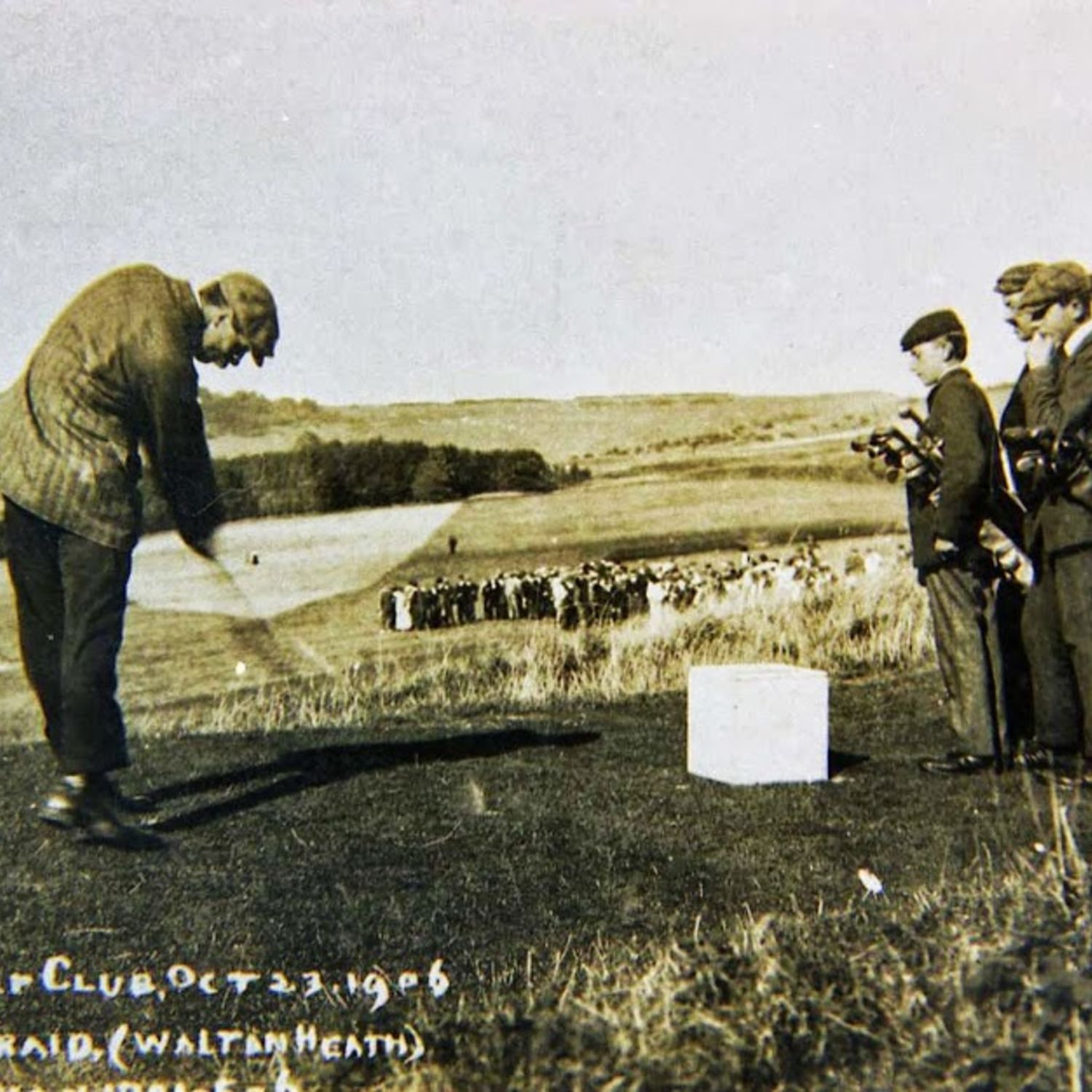 James Braid the Open Champion playing a 36 hole exhibition match against Harry Varden, Oct 1906