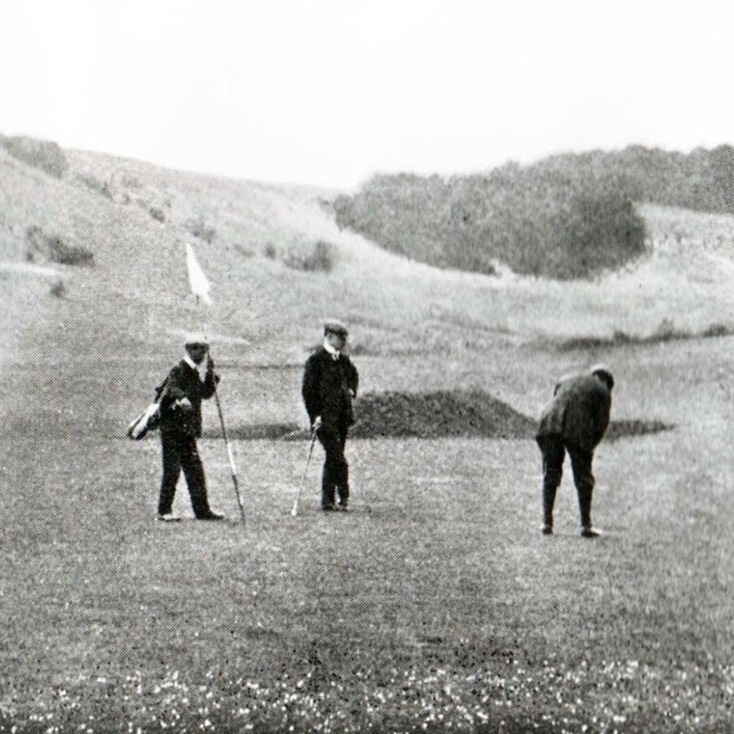 1914 The 7th green of the old course. The valley in the background is the present 8th hole.