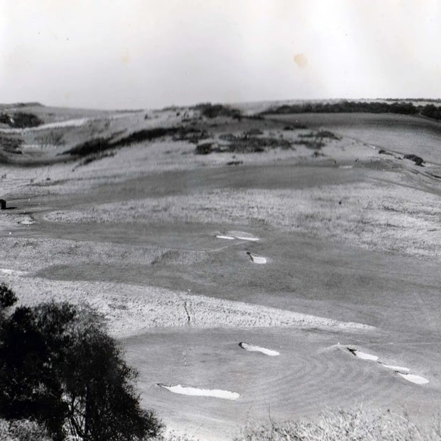1947. Looking up the 11th lower with the 6th & 7th greens below