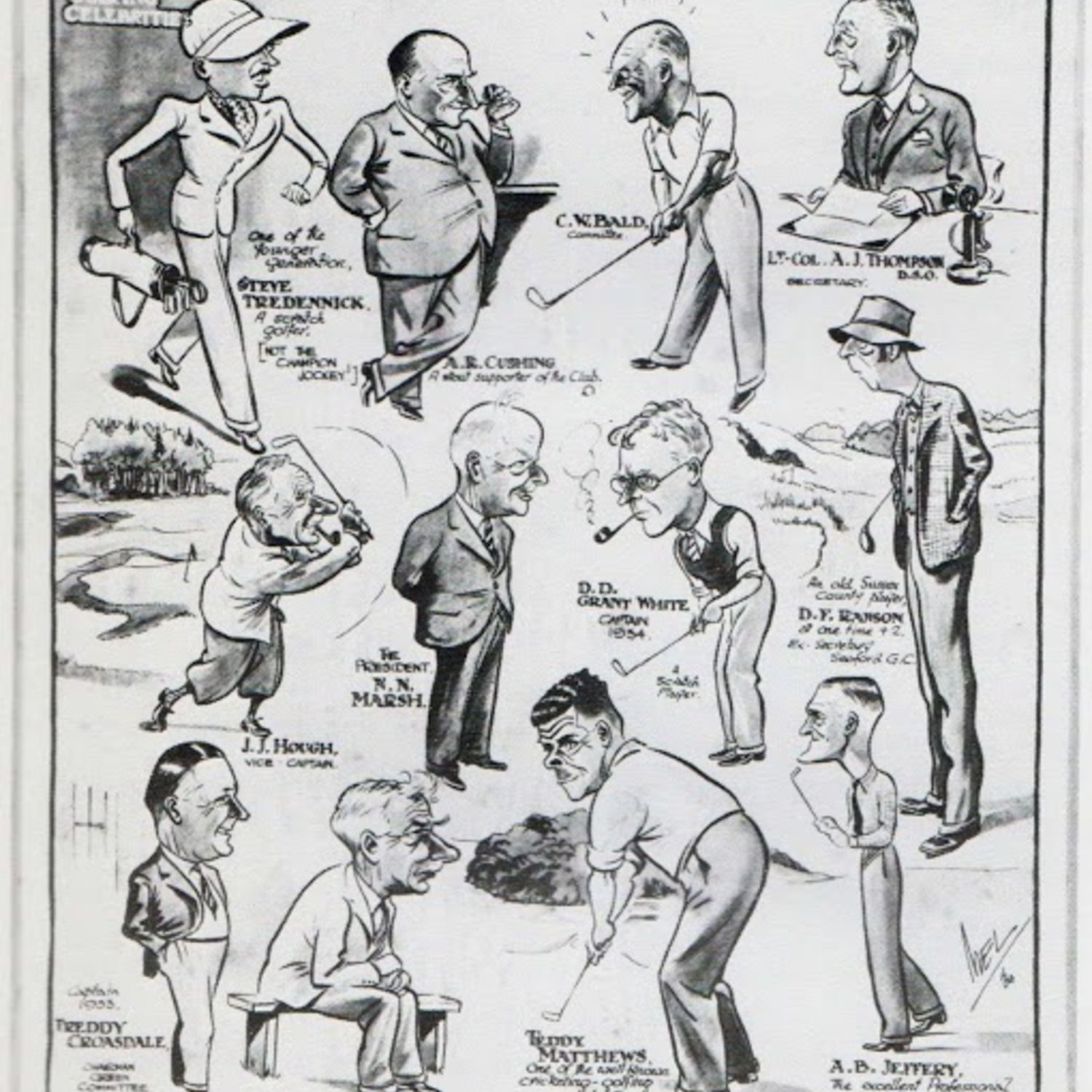 The Tatler in 1934 featured many characters of Worthing Golf Club with this cartoon by Mel